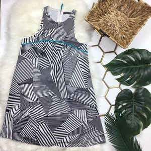 THML Dress Black and White Print W/ Pop of Teal